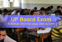 UP Board Exam Schedule 2019